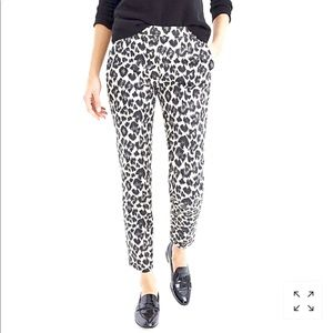 Martie slim crop pant in leopard stretch cotton